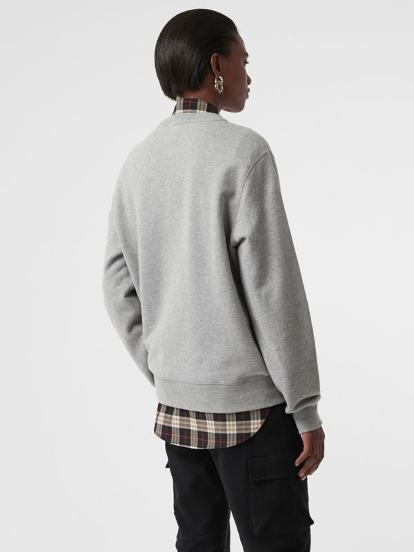 Chequer EKD Cotton Sweatshirt in Pale Grey Melange - Women | Burberry - cell image 2