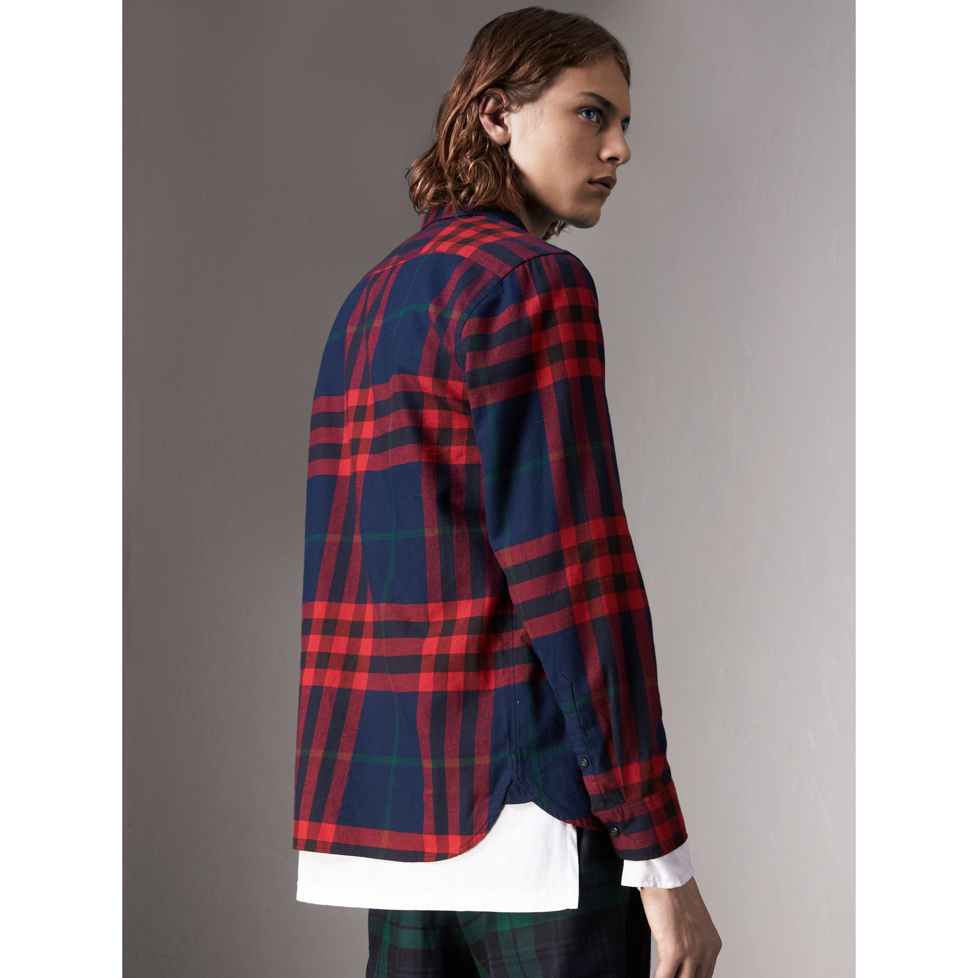 Check Cotton Flannel Shirt in Ink Blue - Men | Burberry - gallery image 3