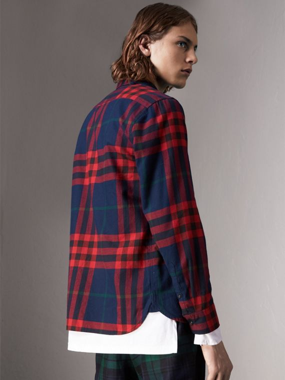 Check Cotton Flannel Shirt in Ink Blue - Men | Burberry United Kingdom - cell image 2
