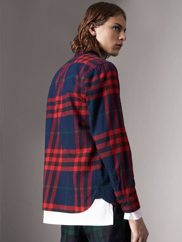 Check Cotton Flannel Shirt in Ink Blue - Men | Burberry - cell image 2