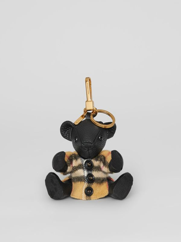 Thomas Bear Charm in Vintage Check Poncho in Black | Burberry United Kingdom - cell image 2