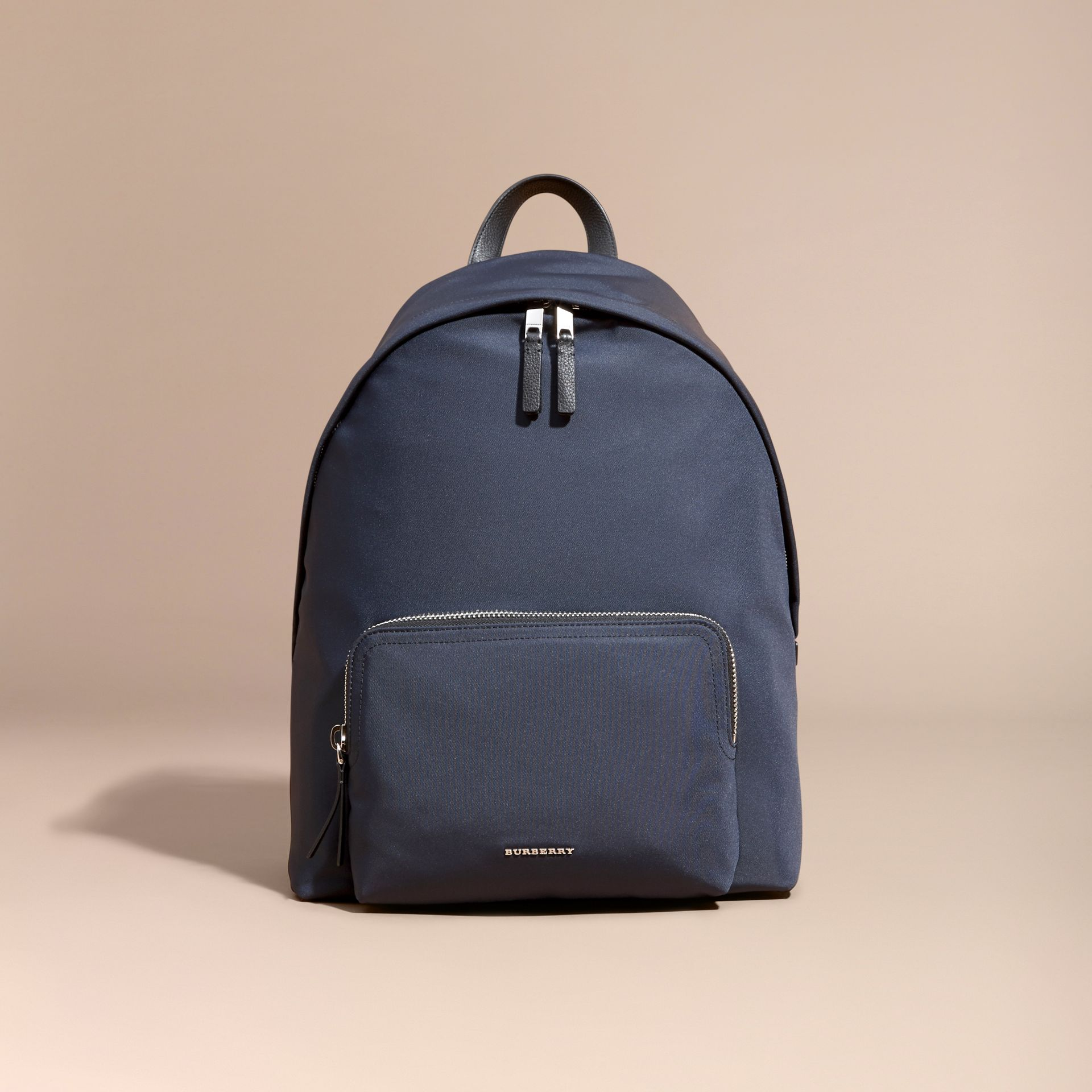 Leather Trim Technical Backpack in Dark Navy - Men | Burberry Canada - gallery image 7