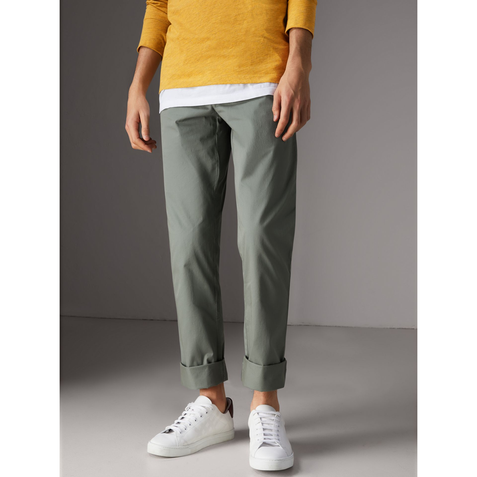 Slim Fit Cotton Chinos in Grey Blue - Men | Burberry Singapore - gallery image 4