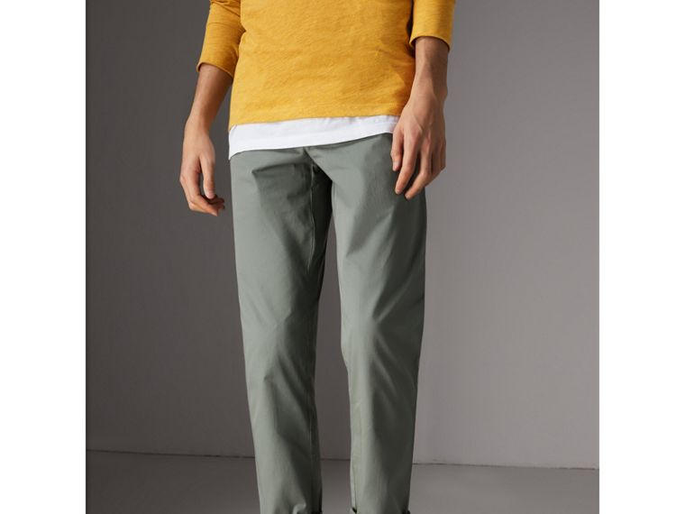 Slim Fit Cotton Chinos in Grey Blue - Men | Burberry - cell image 4