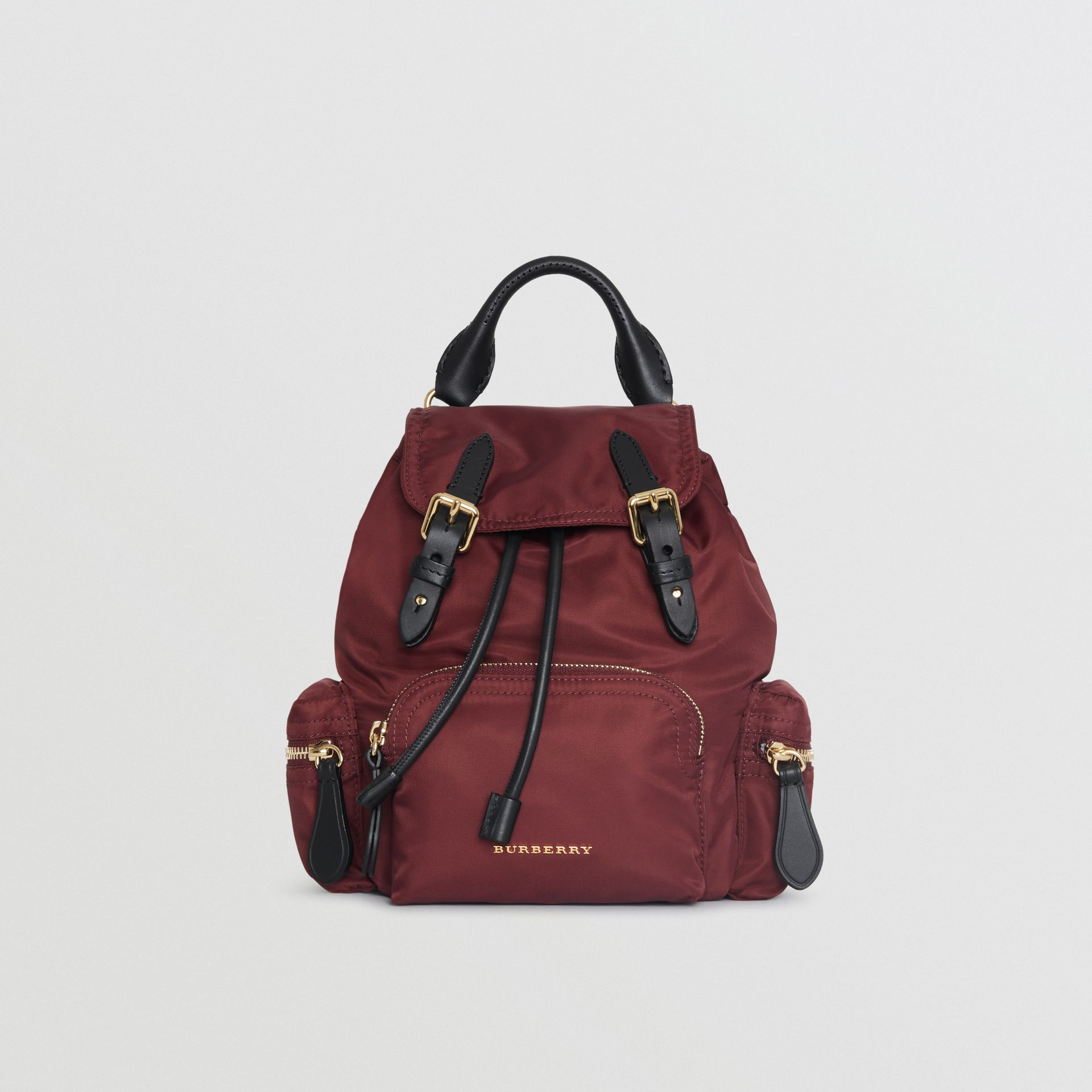 The Small Crossbody Rucksack in Nylon in Burgundy Red - Women | Burberry Australia - gallery image 0