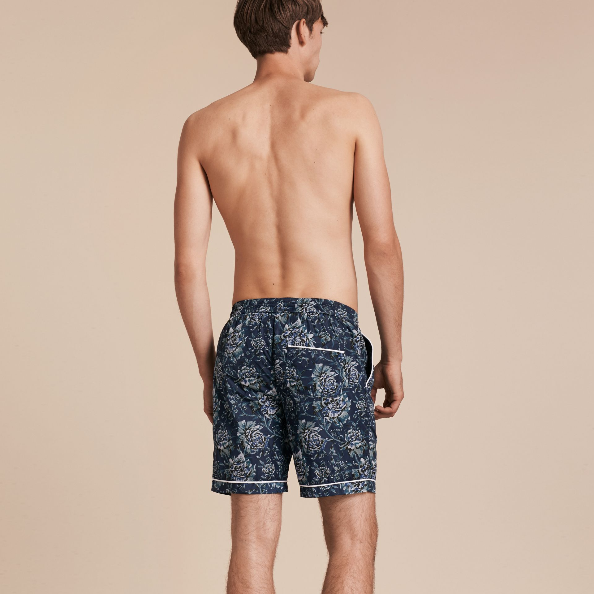 Ink blue Peony Rose Print Swim Shorts - gallery image 3