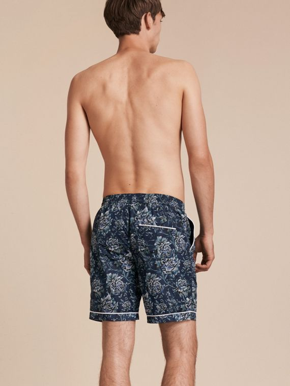 Ink blue Peony Rose Print Swim Shorts - cell image 2
