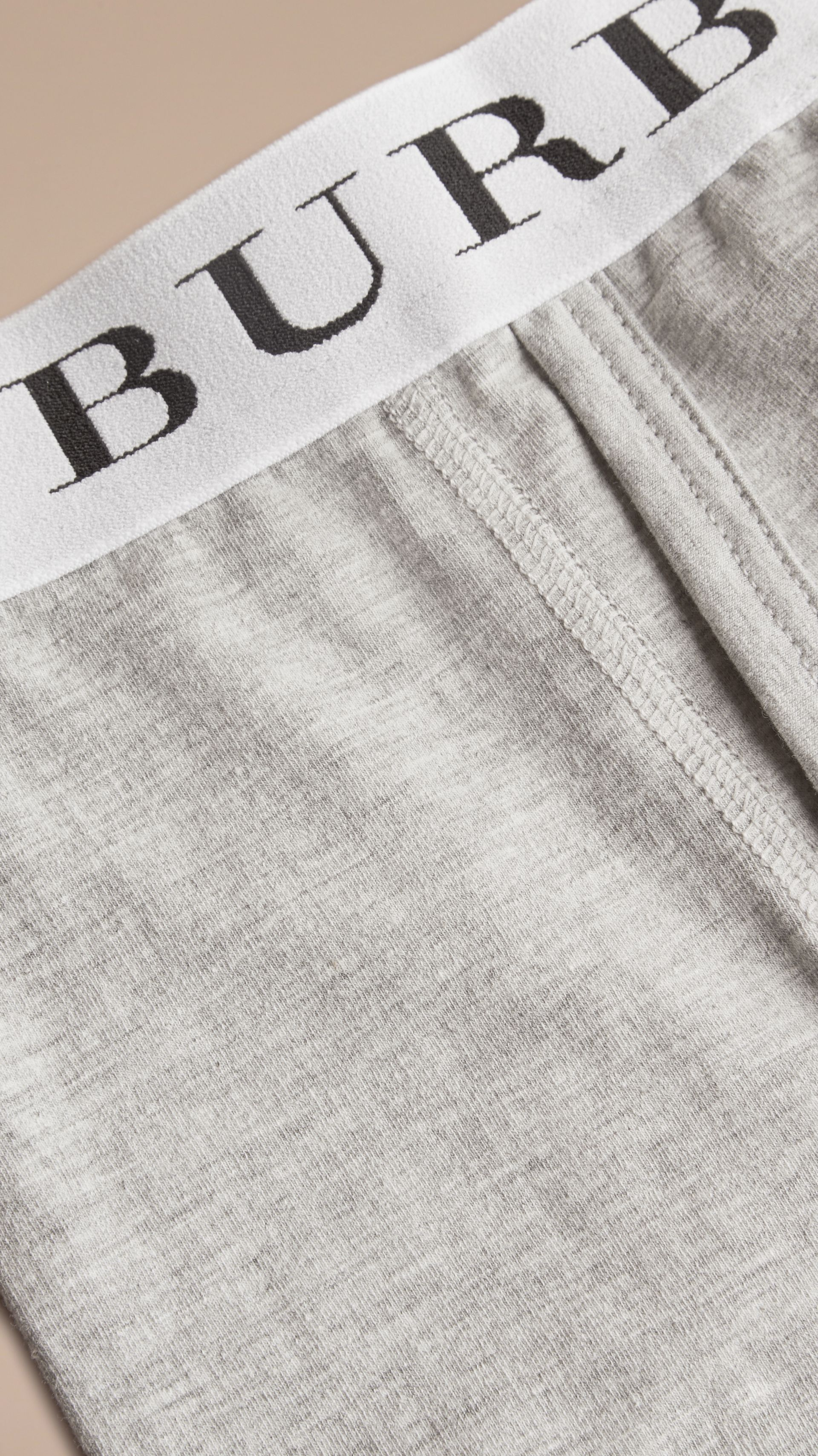 Stretch Cotton Boxer Shorts in Pale Grey Melange - Men | Burberry Singapore - gallery image 2