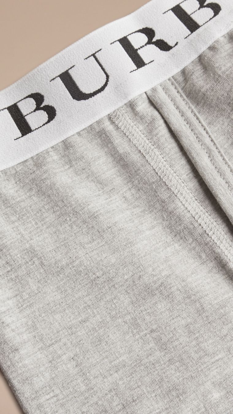 Stretch Cotton Boxer Shorts in Pale Grey Melange - Men | Burberry Singapore - cell image 1