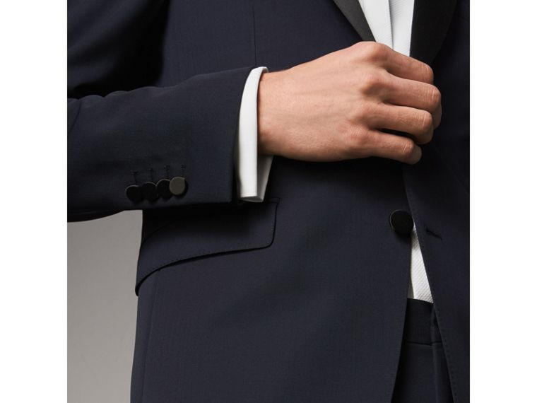 Modern Fit Virgin Wool Half-canvas Tuxedo in Navy - Men | Burberry Canada - cell image 4