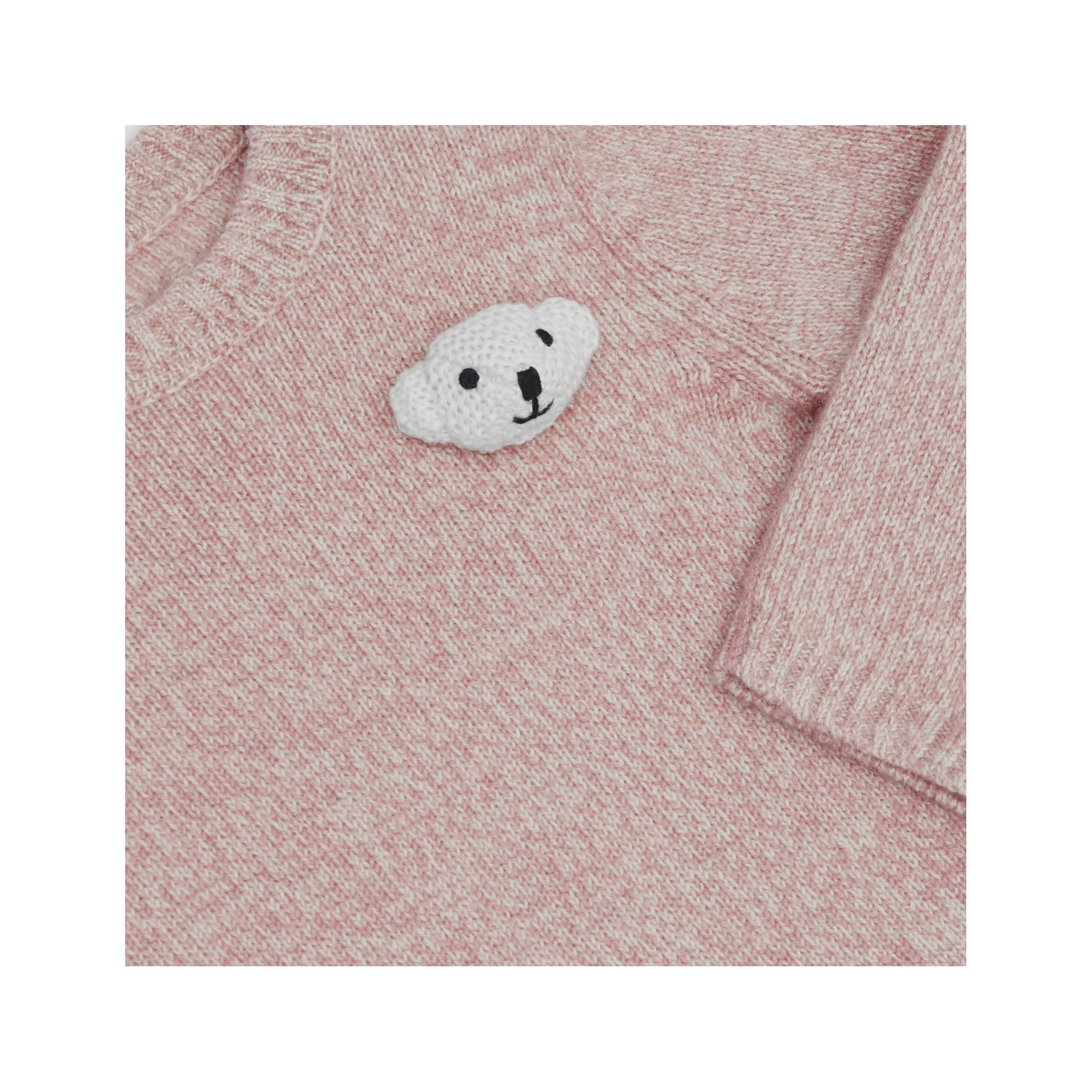 Thomas Bear Detail Wool Cashmere Sweater in Light Pink - Children | Burberry United Kingdom - gallery image 1