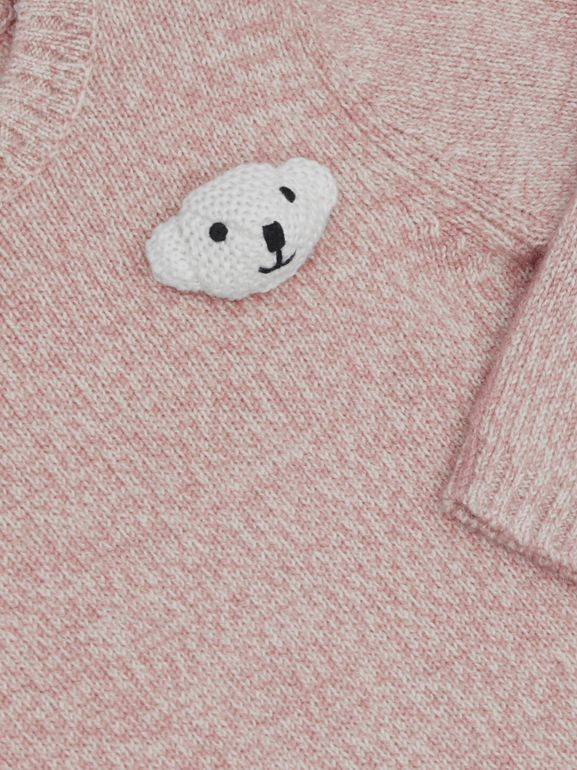 Thomas Bear Detail Wool Cashmere Sweater in Light Pink - Children | Burberry United Kingdom - cell image 1