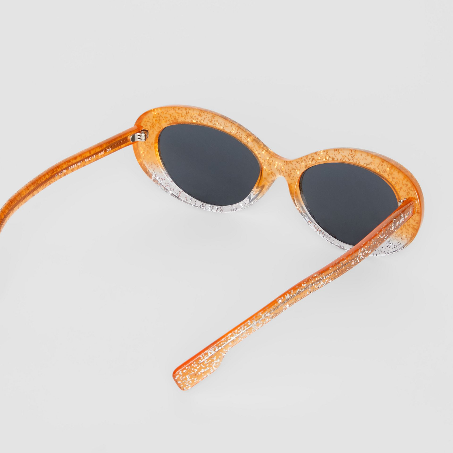 Glitter Detail Cat-eye Frame Sunglasses in Orange - Women | Burberry United Kingdom - gallery image 4