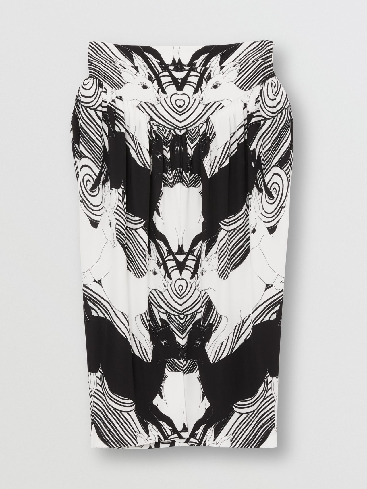 Deer Print Gathered Jersey Sculptural Skirt in Monochrome