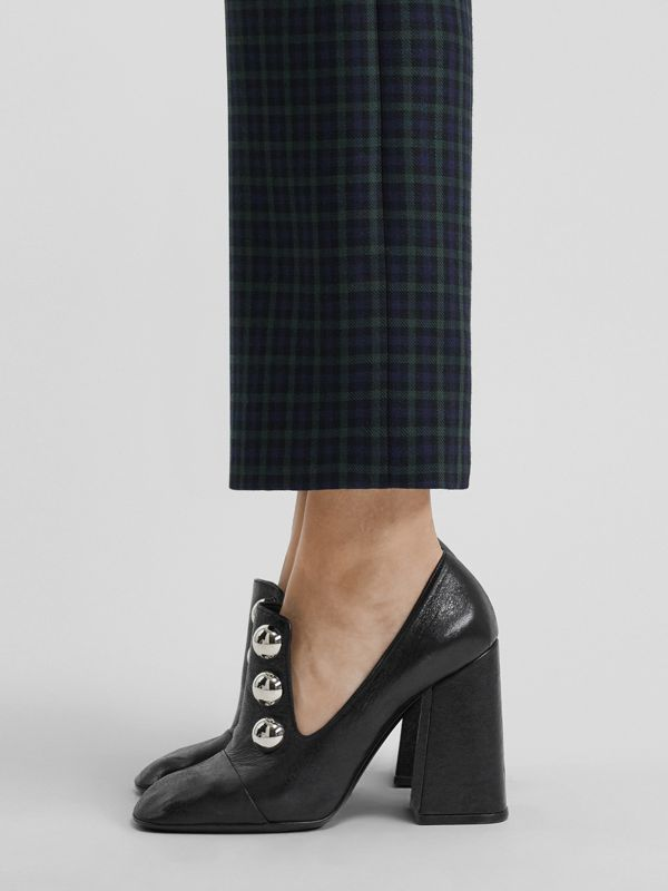 Stud Detail Leather Block-heel Pumps in Black - Women | Burberry - cell image 2