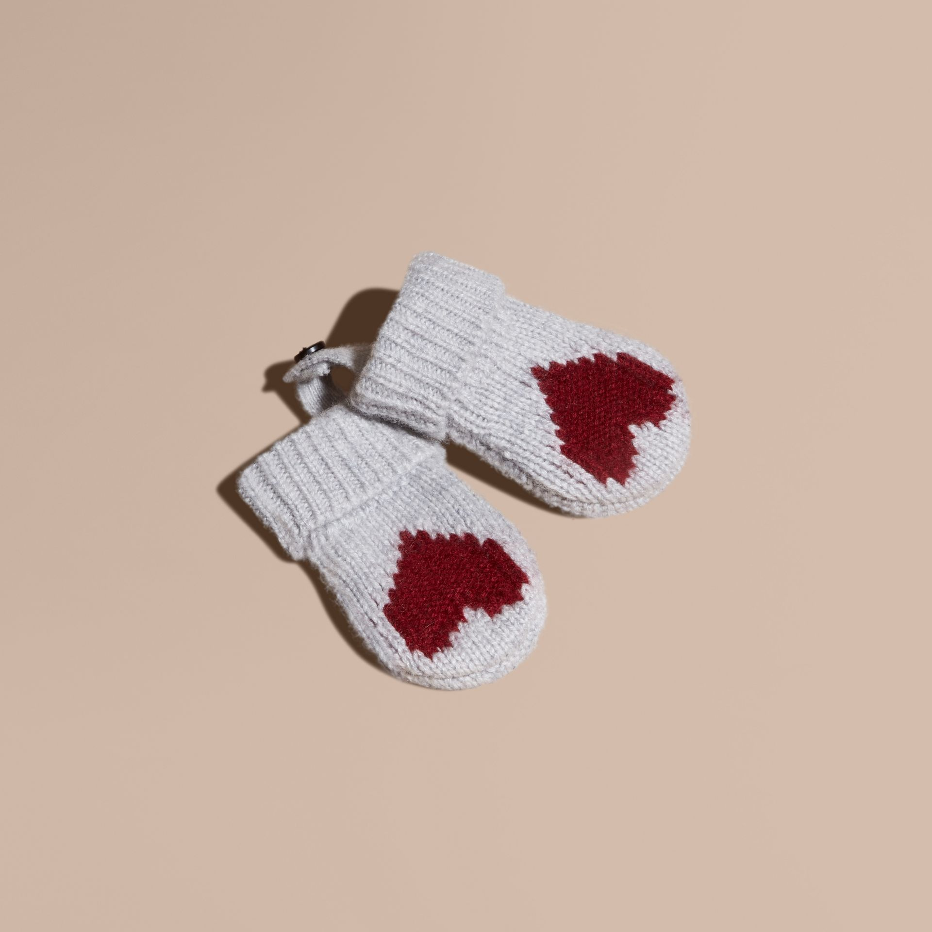 Heart Intarsia Cashmere Mittens - gallery image 1
