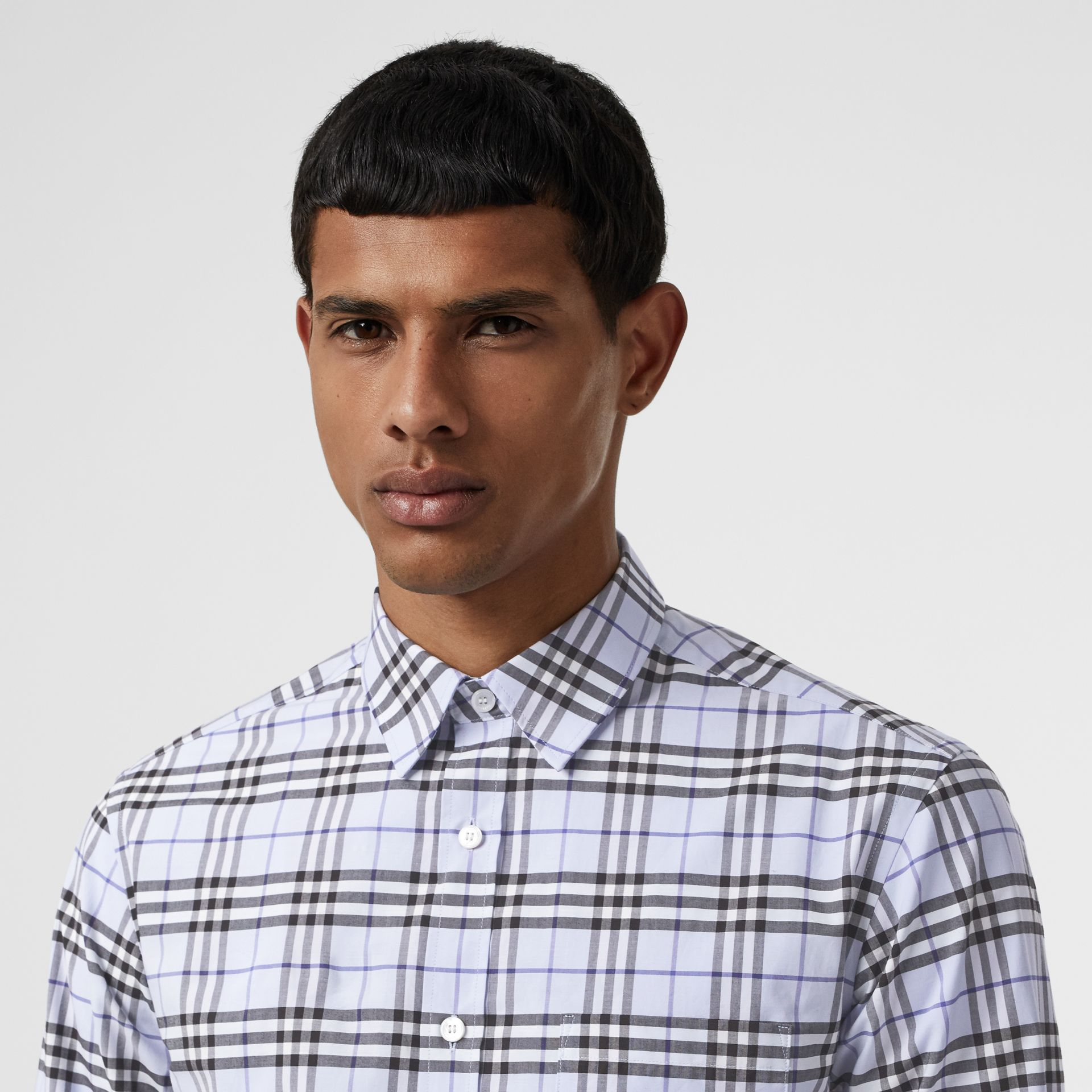 Check Stretch Cotton Shirt in Sky Blue - Men | Burberry Canada - gallery image 1