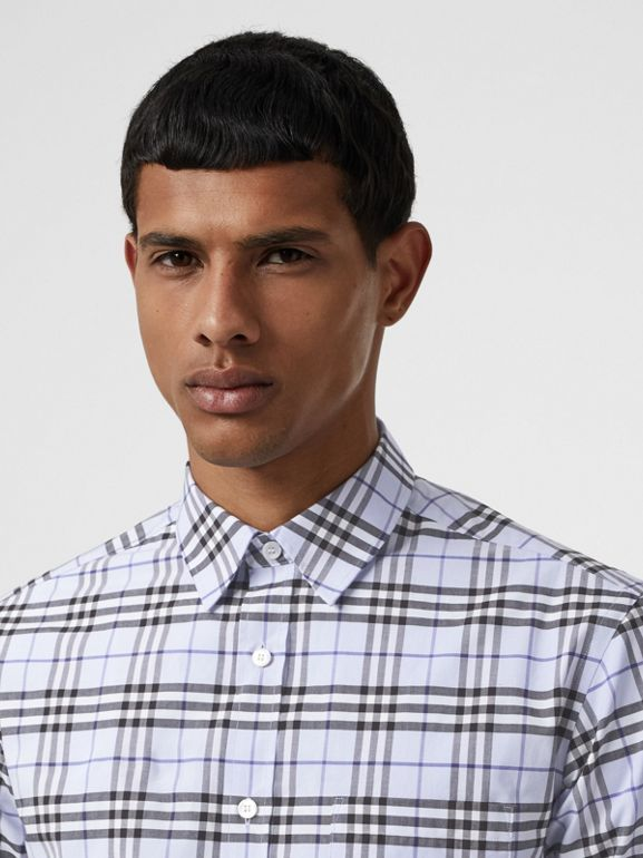 Check Stretch Cotton Shirt in Sky Blue - Men | Burberry - cell image 1