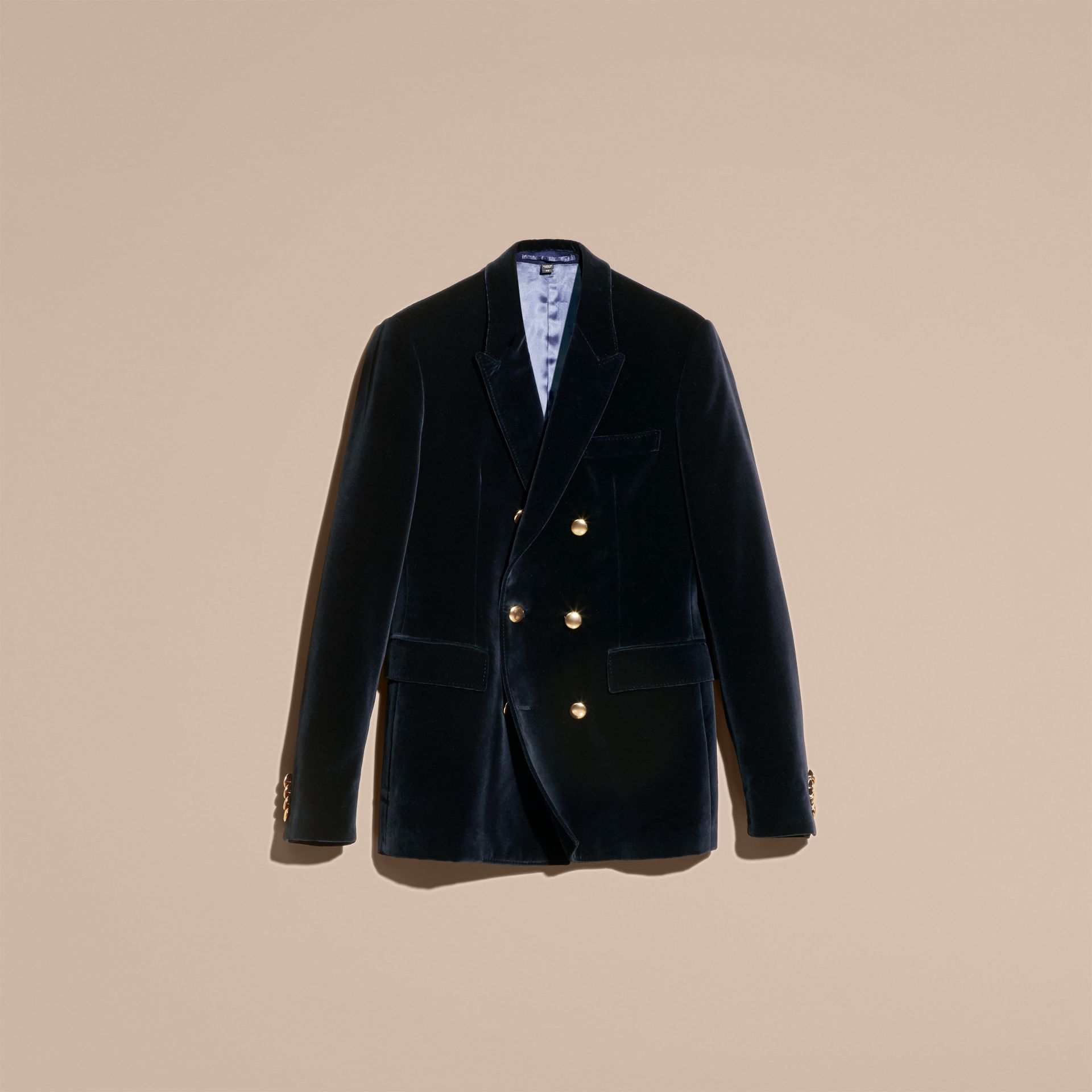 Navy Double-breasted Velvet Jacket - gallery image 4