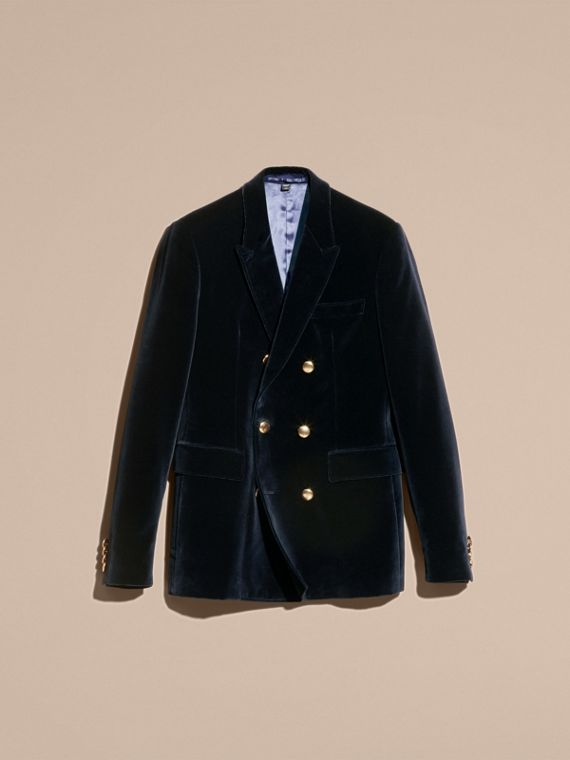 Navy Double-breasted Velvet Jacket - cell image 3