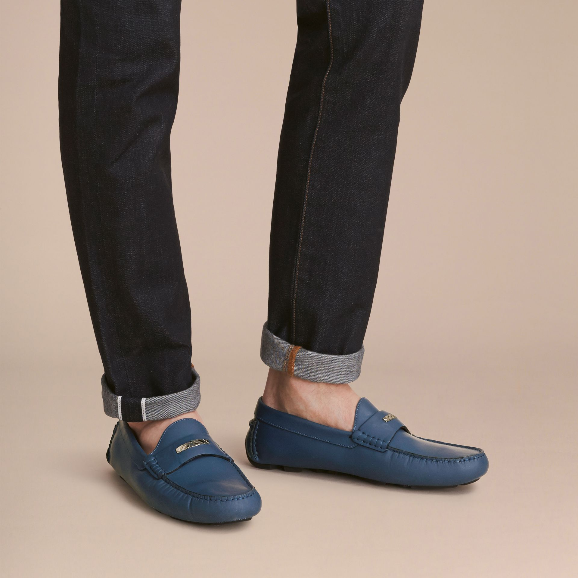 Leather Loafers with Engraved Check Detail Dark Mineral Blue - gallery image 3
