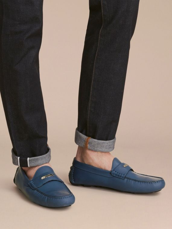 Leather Loafers with Engraved Check Detail Dark Mineral Blue - cell image 2