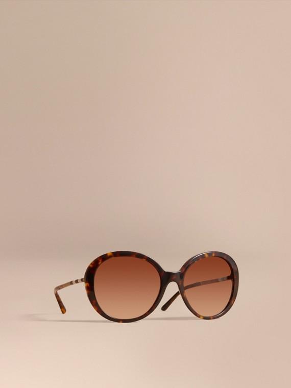 格紋細節設計圓框太陽眼鏡 玳瑁紋