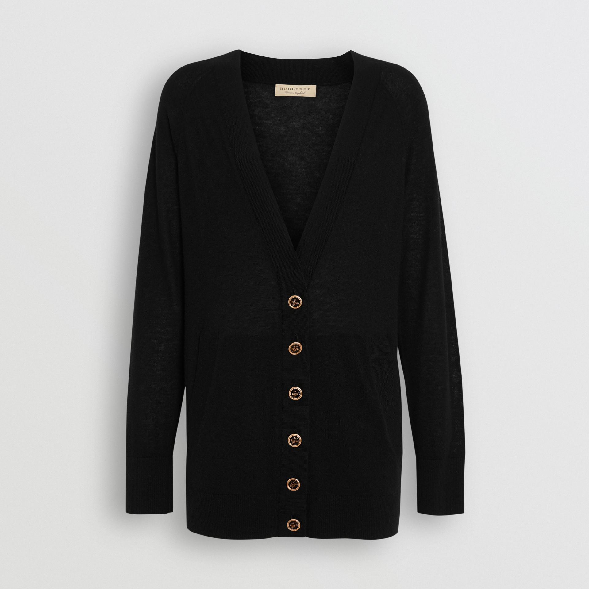 Cashmere V-neck Cardigan in Black - Women | Burberry Canada - gallery image 3