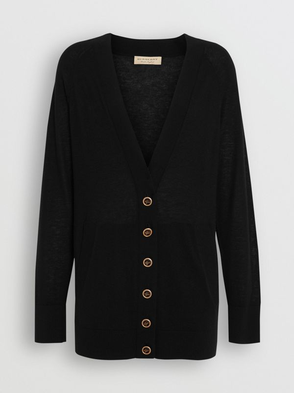 Cashmere V-neck Cardigan in Black - Women | Burberry United Kingdom - cell image 3
