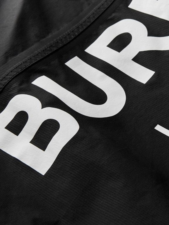 Logo Print Nylon Hooded Jacket in Black | Burberry - cell image 1