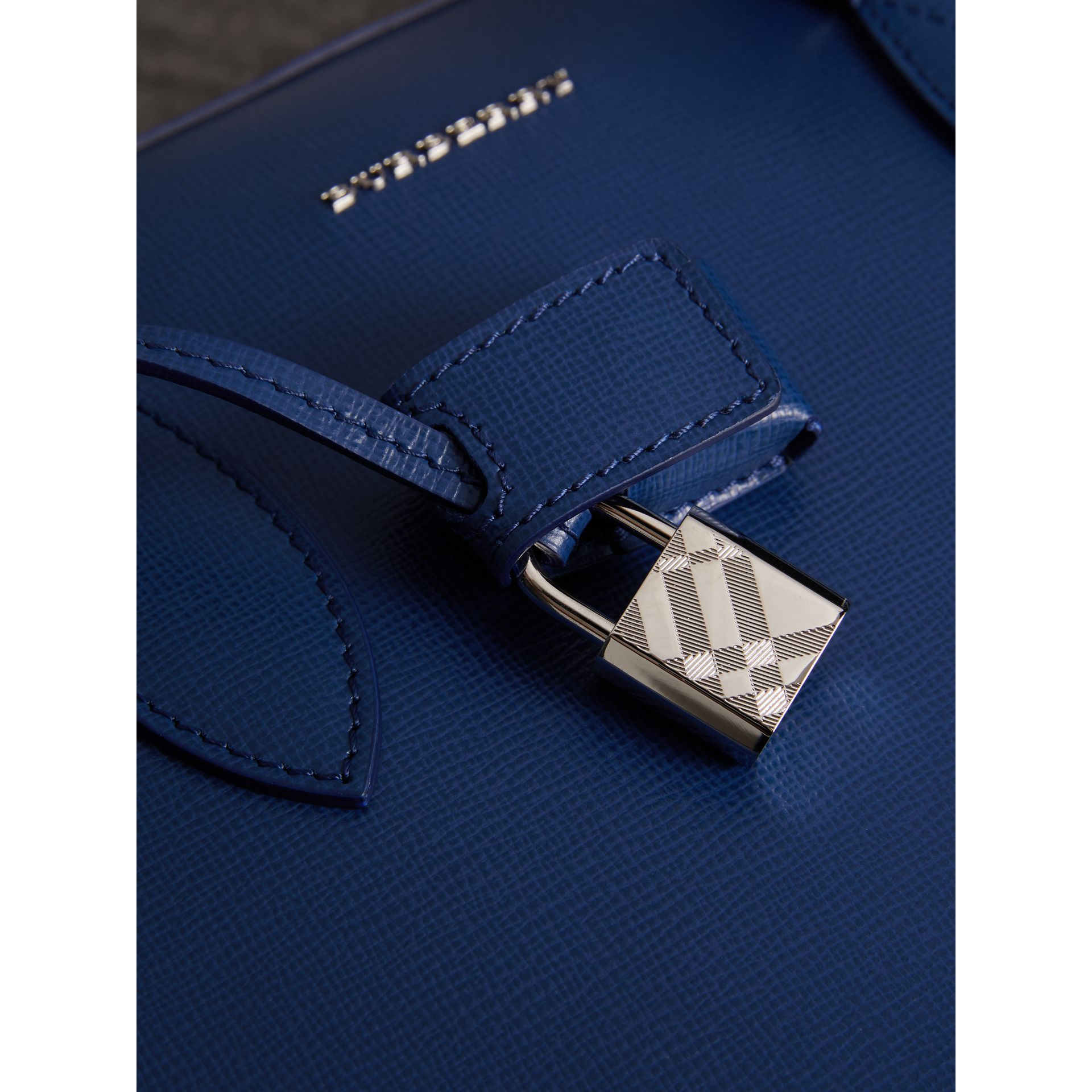 London Leather Briefcase in Deep Blue - Men | Burberry - gallery image 2