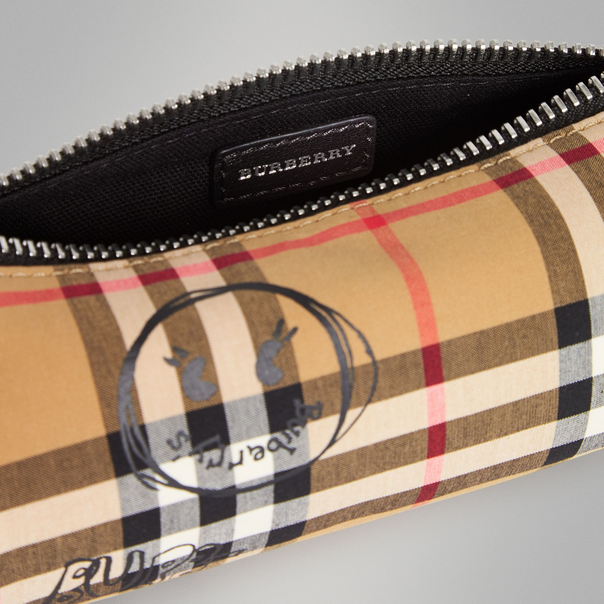 Street Art Print Vintage Check Pencil Case in Antique Yellow | Burberry - gallery image 3