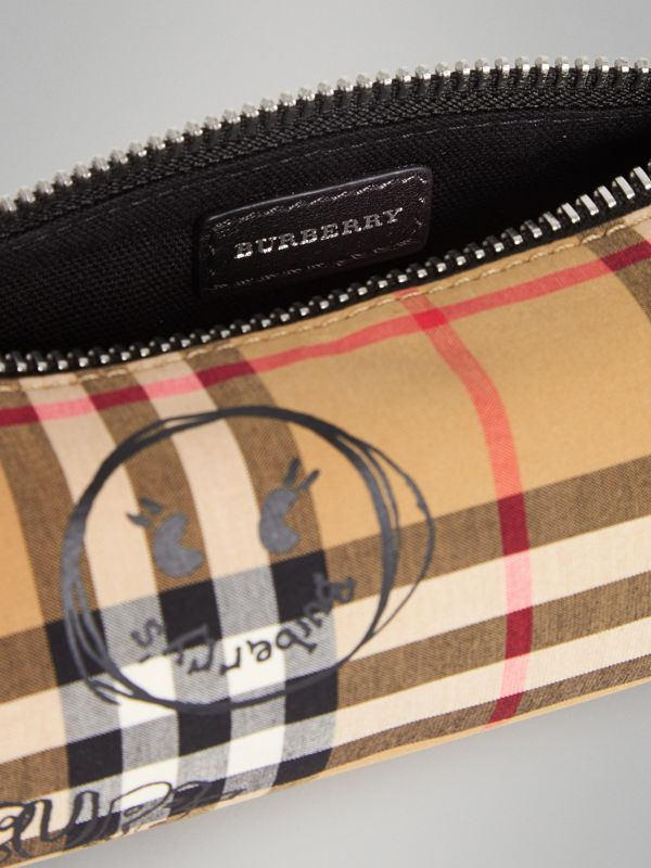 Street Art Print Vintage Check Pencil Case in Antique Yellow | Burberry - cell image 3