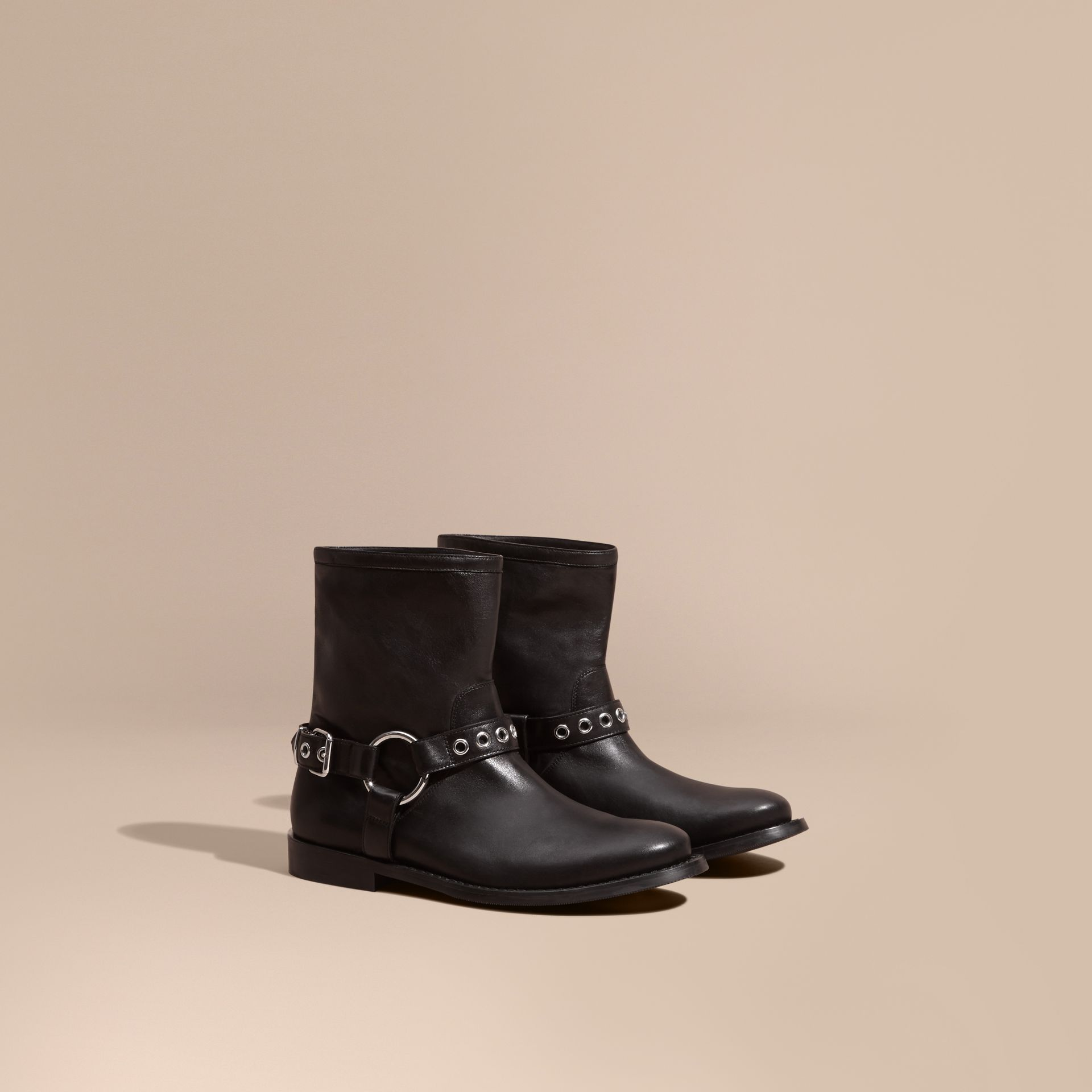 Black Buckle Detail Leather Biker Boots - gallery image 1