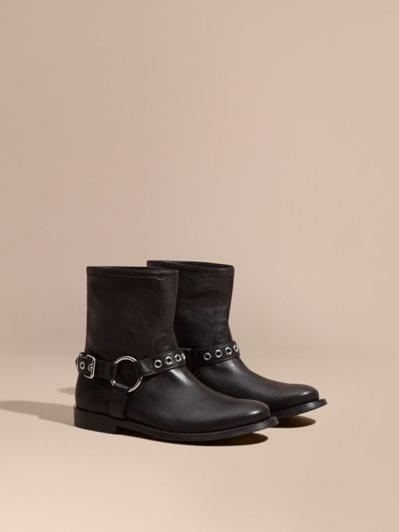 Buckle Detail Leather Biker Boots