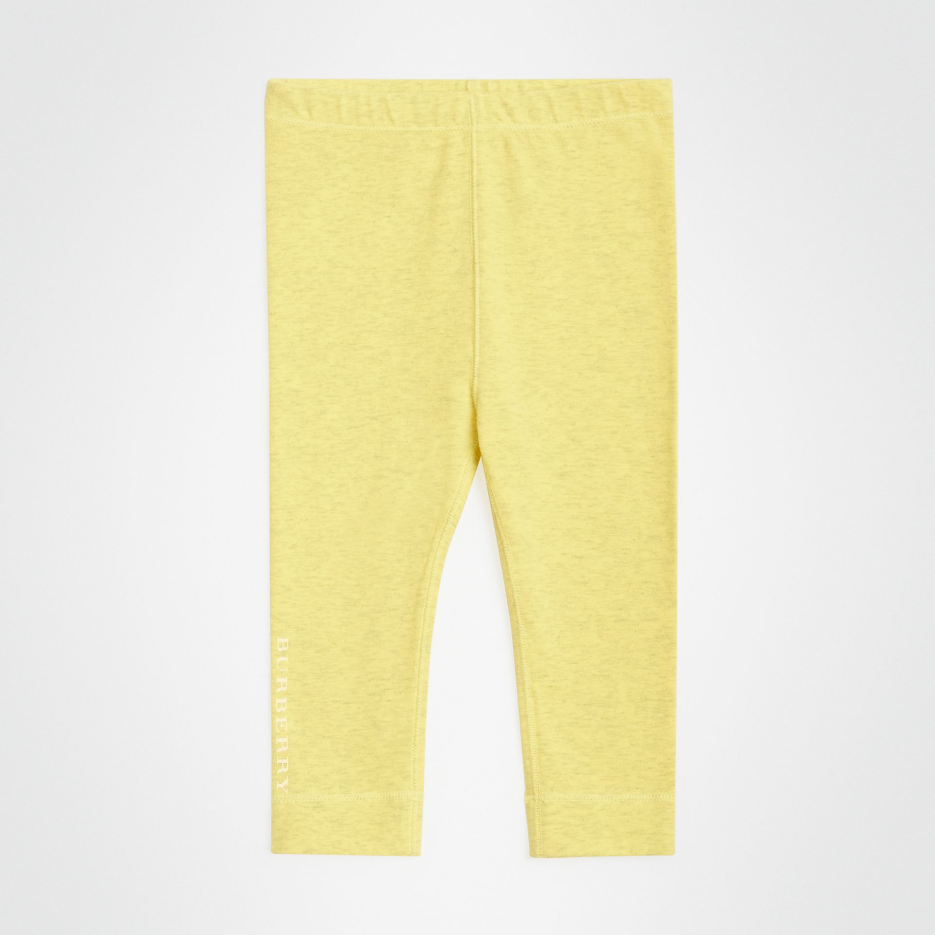 Logo Print Stretch Jersey Leggings in Citrus Yellow - Children | Burberry - gallery image 0