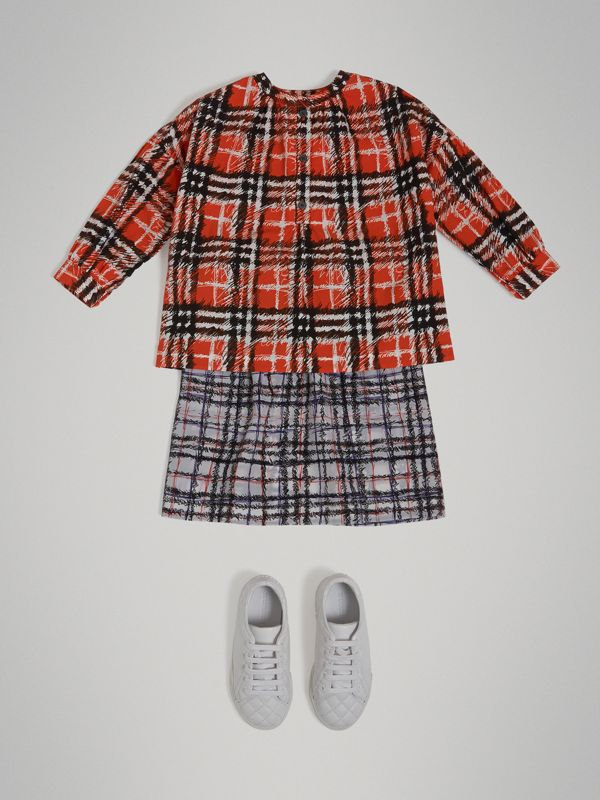 Scribble Check Print Cotton Tunic Shirt in Bright Red - Girl | Burberry - cell image 2