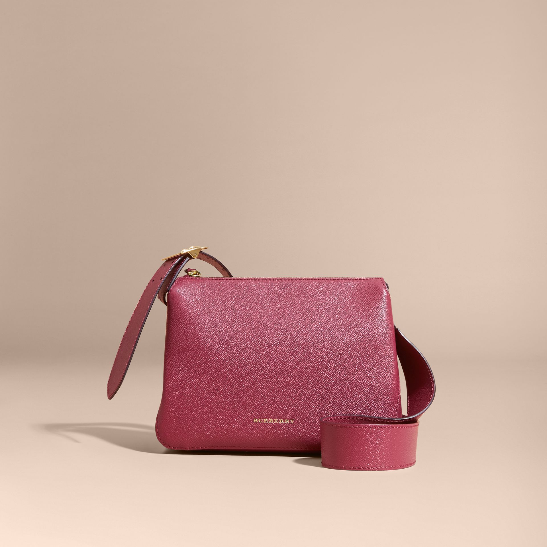 Buckle Detail Leather Crossbody Bag in Dark Plum - gallery image 7