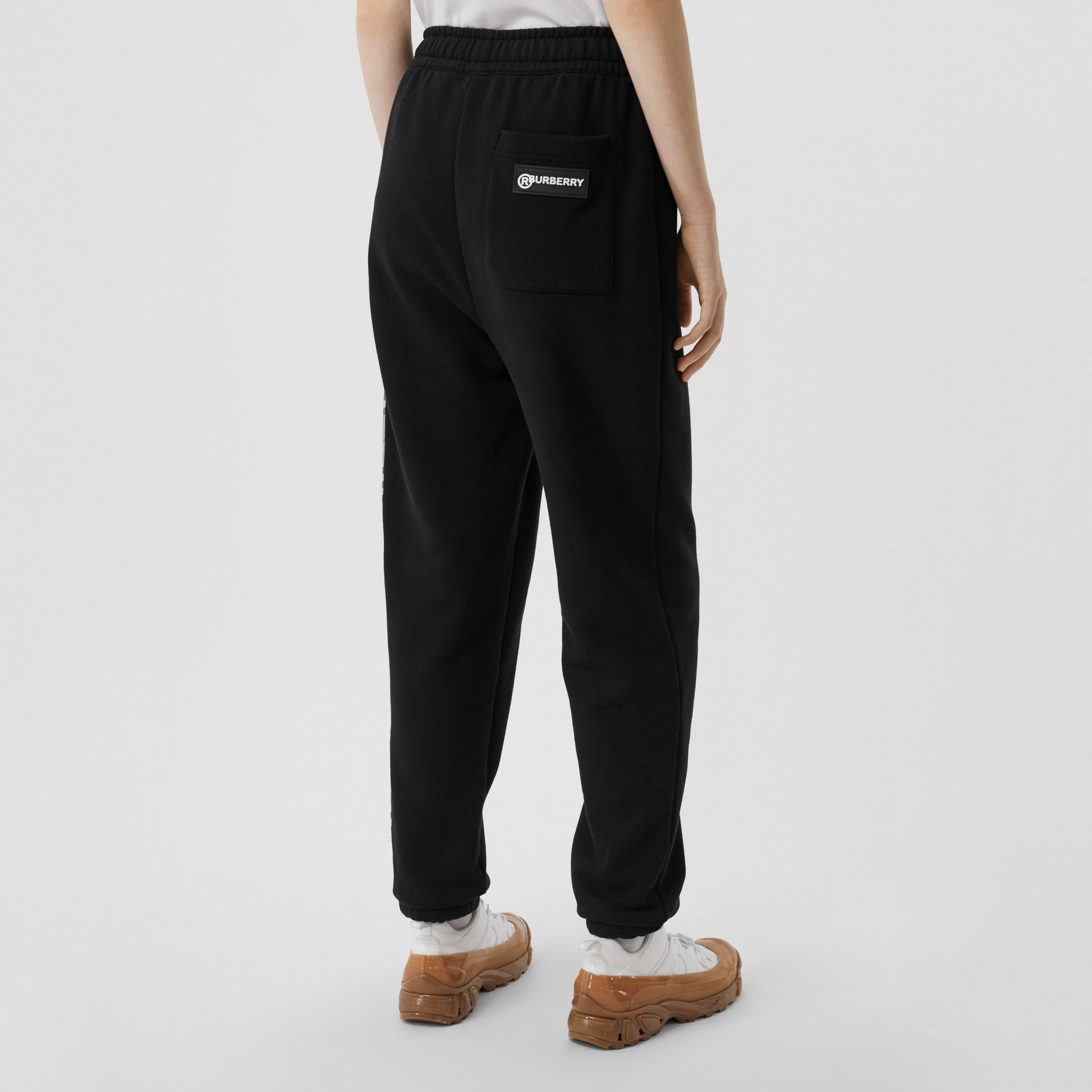 Vintage Check Panel Cotton Trackpants in Black - Women | Burberry - gallery image 2