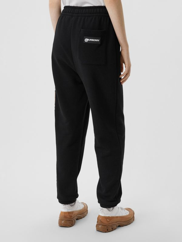 Vintage Check Panel Cotton Trackpants in Black - Women | Burberry - cell image 2