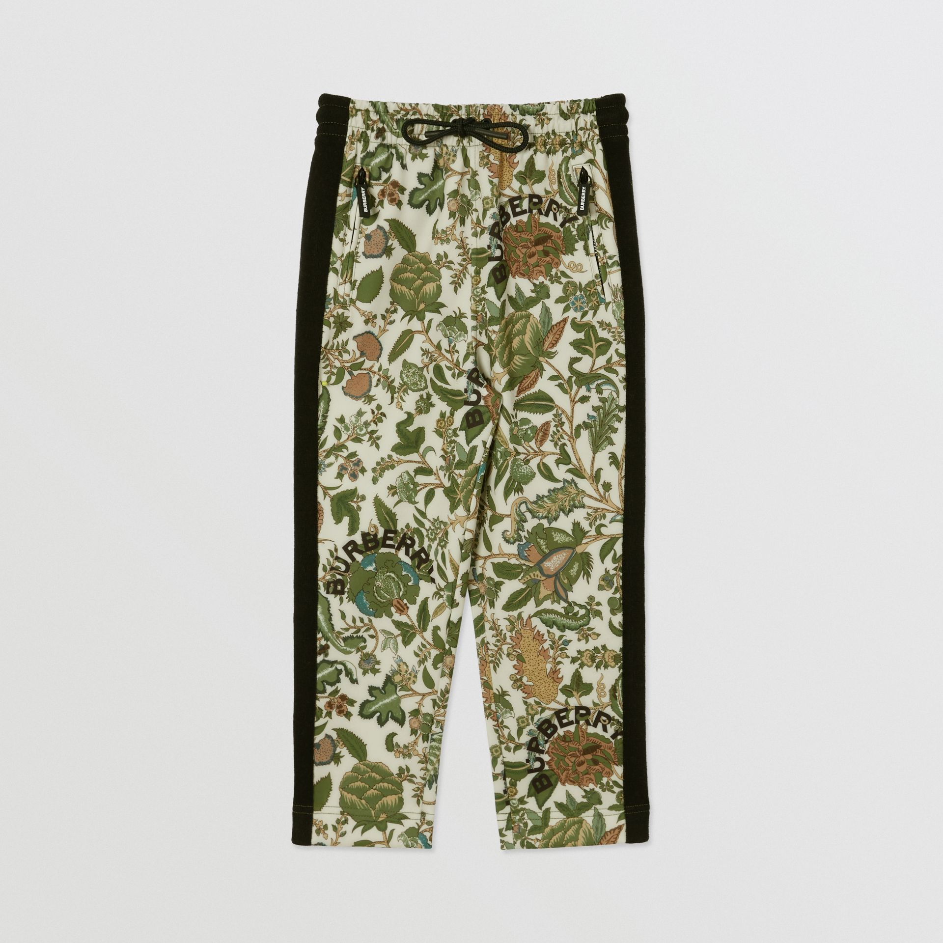 Botanical Print Neoprene Trackpants in Olive | Burberry Australia - gallery image 0