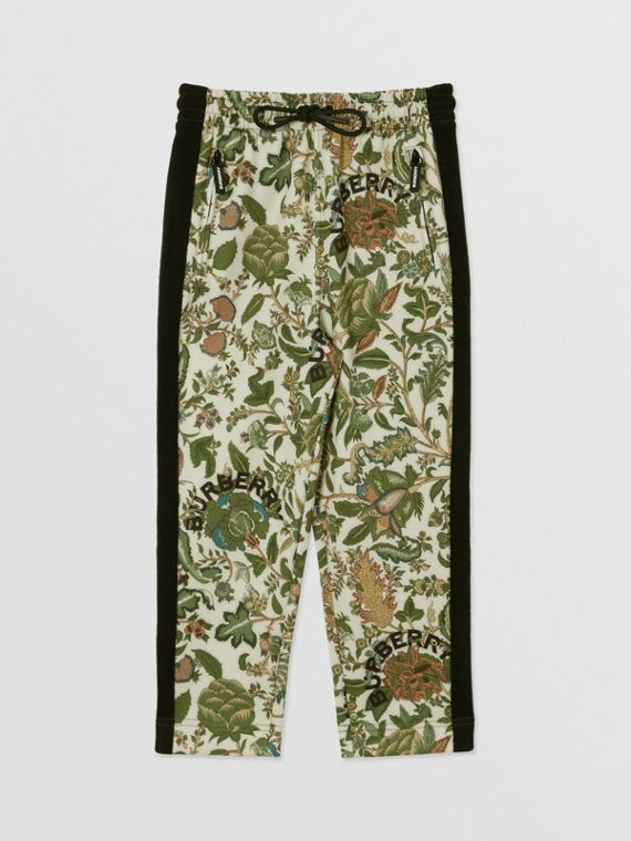 Botanical Print Neoprene Trackpants in Olive