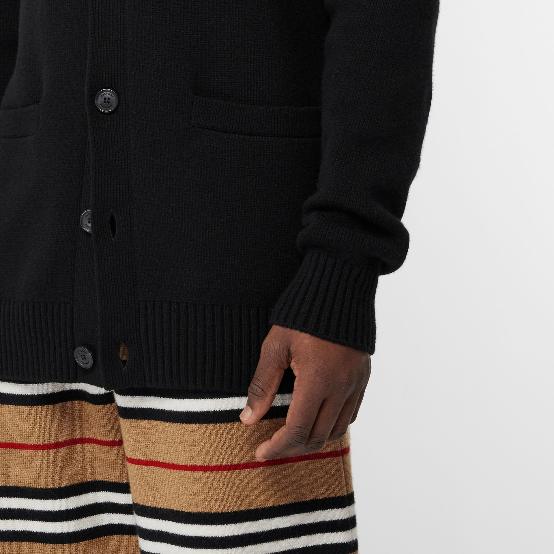 Cashmere Crew Neck Cardigan in Black | Burberry Singapore - gallery image 5