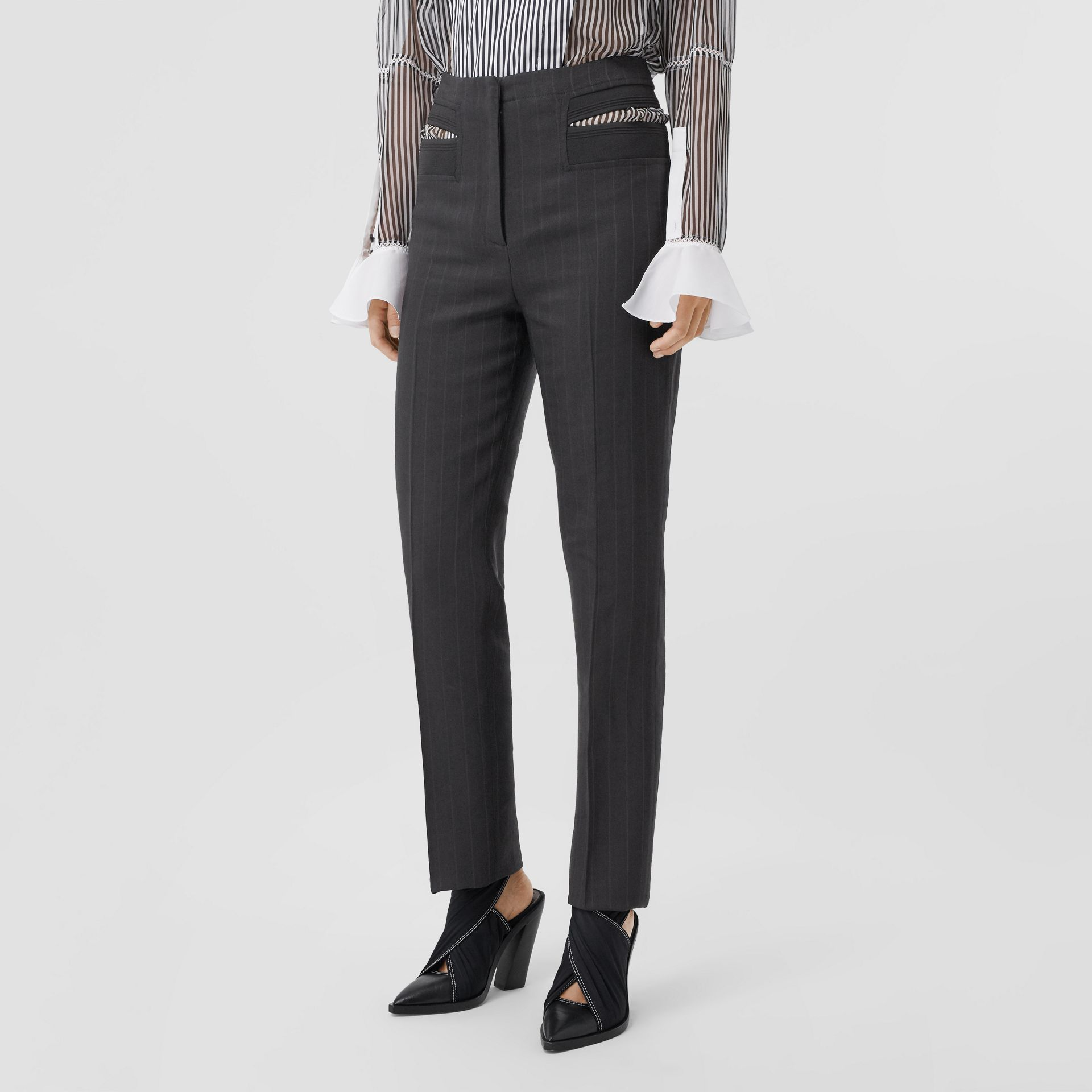 Pinstriped Technical Twill Reconstructed Trousers in Black - Women | Burberry United Kingdom - gallery image 5