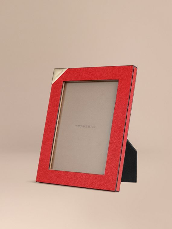 Medium Grainy Leather Picture Frame Parade Red