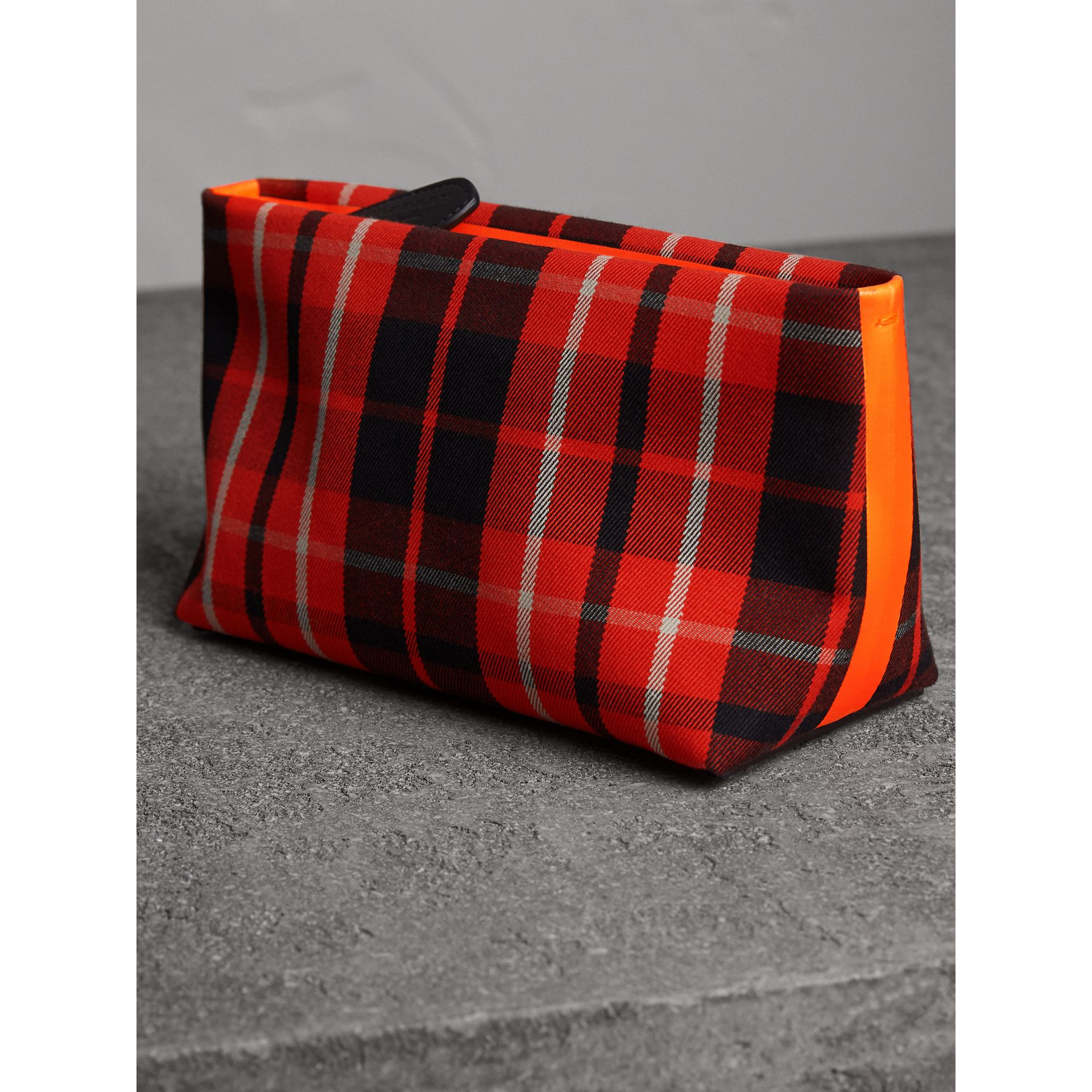 Tartan Cotton Clutch in Vibrant Red/flax Yellow | Burberry Australia - gallery image 7