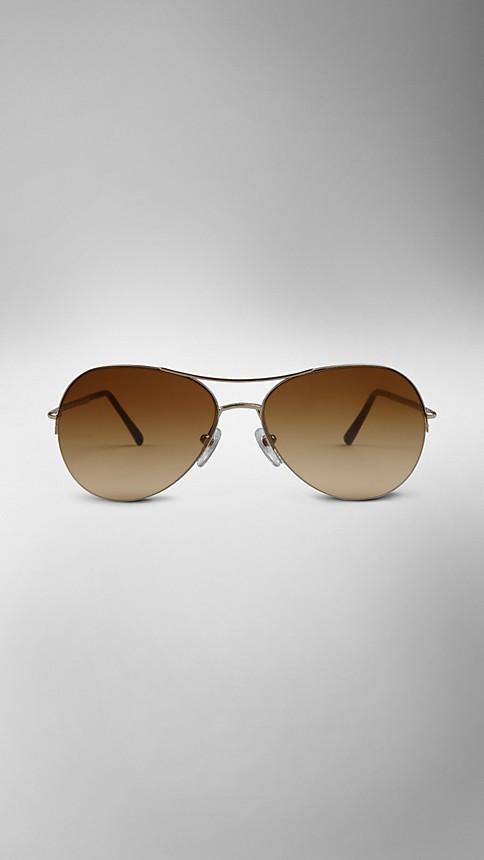 Pale gold Half-Frame Aviator Sunglasses - Image 2