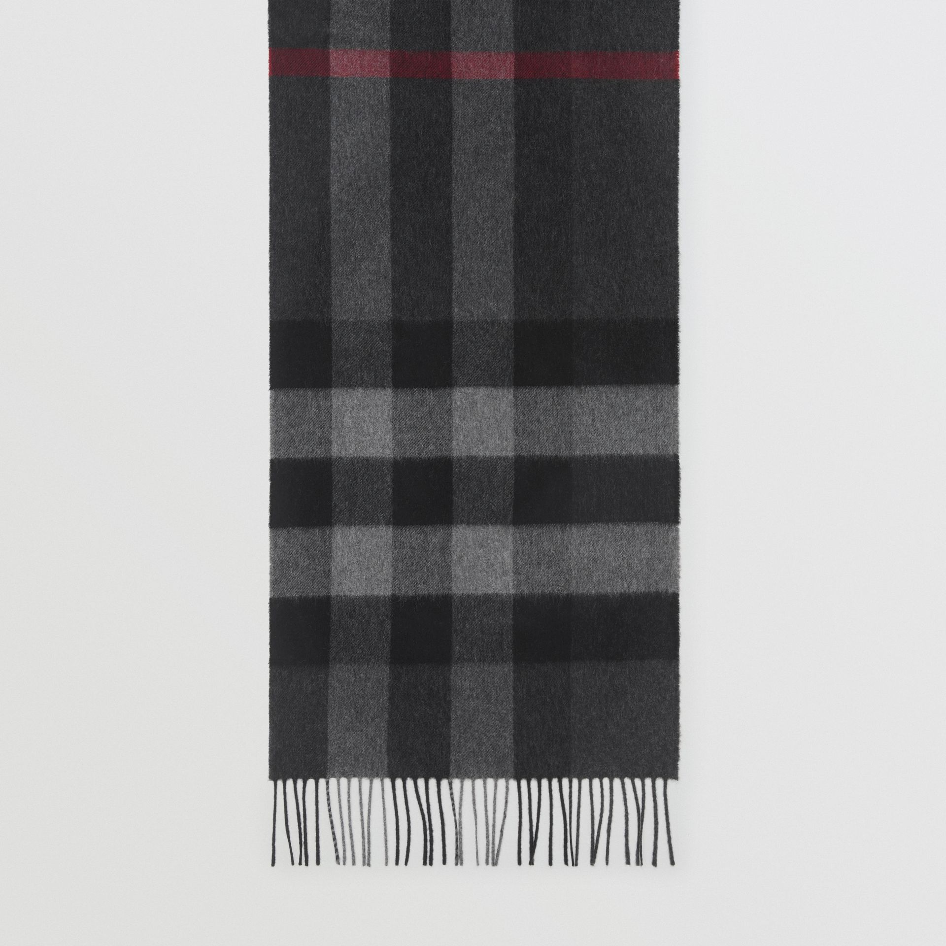 Check Cashmere Scarf in Charcoal | Burberry - gallery image 3