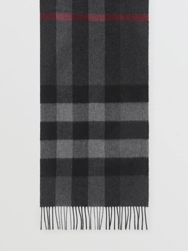 Check Cashmere Scarf in Charcoal | Burberry - cell image 3