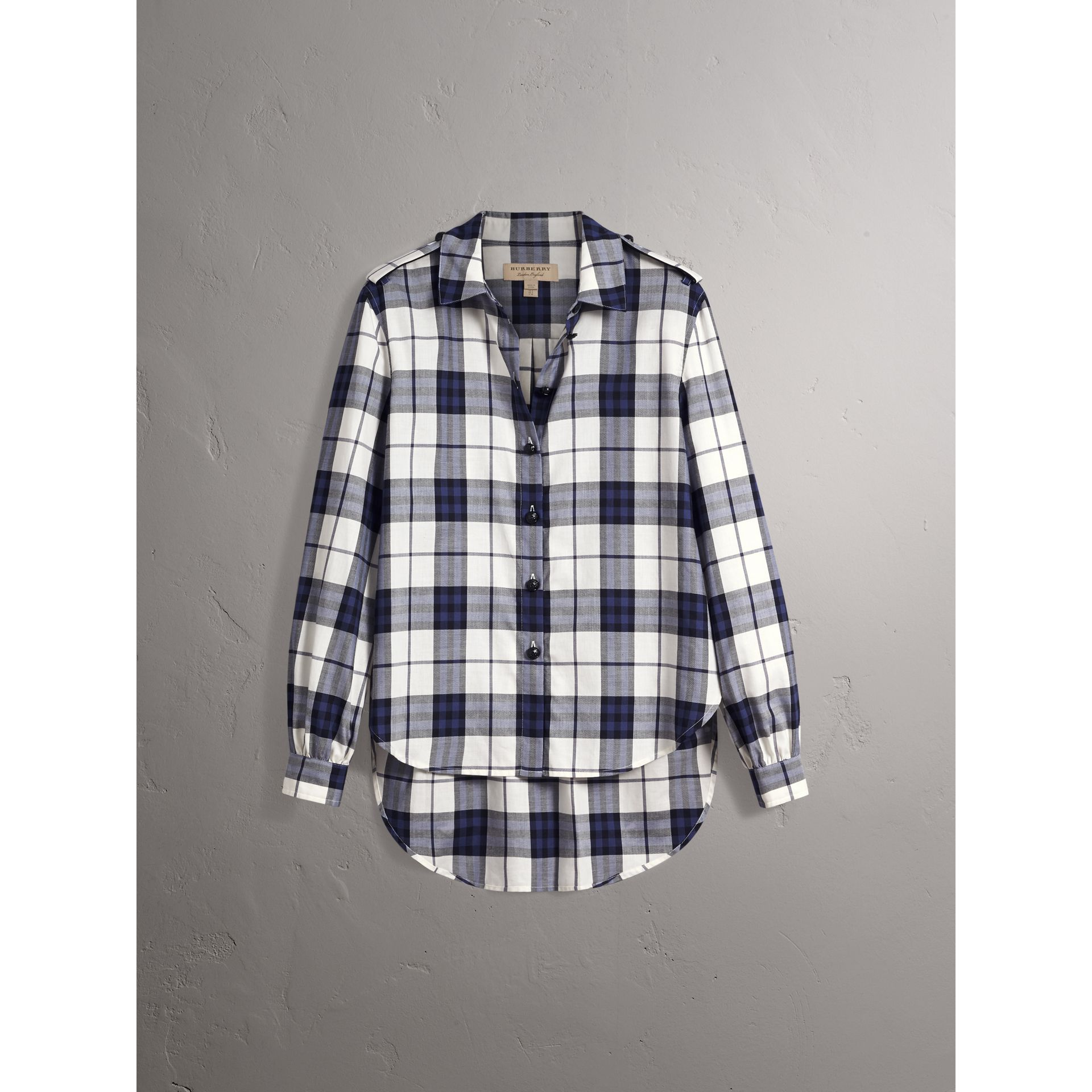 Check Cotton Flannel Military Shirt in Bright Navy - Women | Burberry - gallery image 2